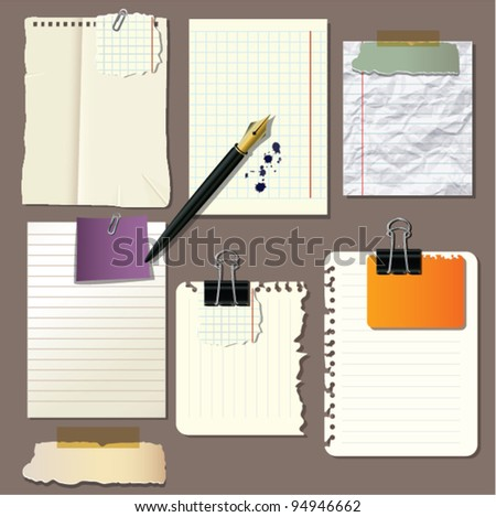 Collection of message paper - stock vector