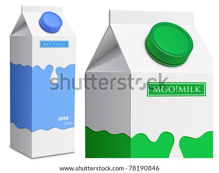 Collection of milk boxes. Milk carton with screw cap - stock vector