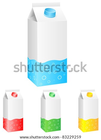 Collection of milk boxes. Vector.