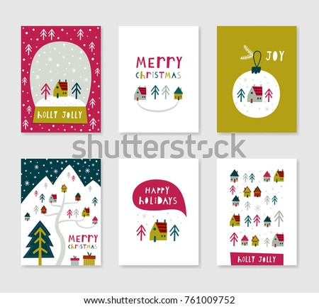 Collection 6 Minimalistic Christmas Card Templates Stock Vector ...