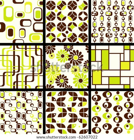 Collection of mod seamless patterns in green and brown (Eps10); jpg version also available - stock vector