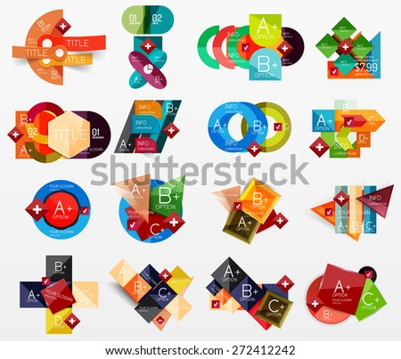Collection of modern business infographic templates made of abstract geometric shapes. Option banners set - stock vector