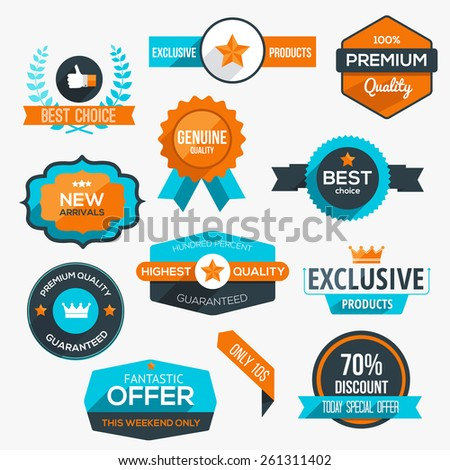Collection of modern, flat design-styled labels and design elements. Vector - stock vector