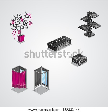 Collection of modern furniture - stock vector