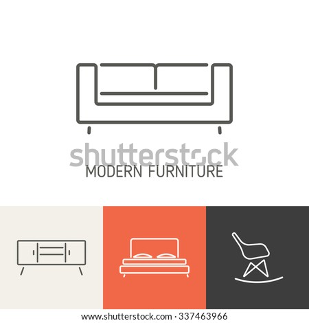 Collection of Modern Furniture icons for design. Business Cover, Invitations, Brochure, Signs, Logos, Elements, Labels, Catalog elements. Loft style. Vector illustration - stock vector