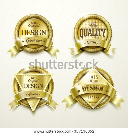 collection of modern gold labels design set - stock vector