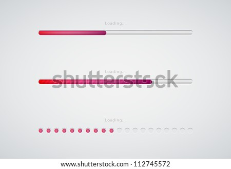 Collection of modern preloaders and progress loading bars - stock vector