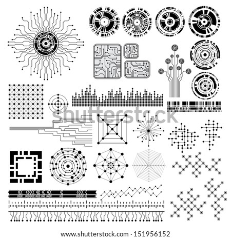 collection of modern technology theme vector design elements
