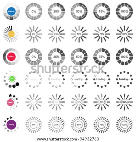 Collection of modern vector Loading and Buffering bars. Easy to edit. - stock vector