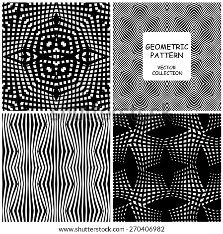 Collection of monochrome geometric seamless patterns. Vector backgrounds set of 4 linear texture with mesh and grid.  - stock vector
