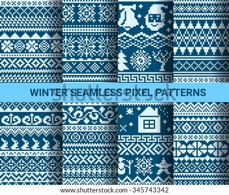 Collection of monochrome seamless pixel patterns with Christmas winter ornament. Vector illustration. - stock vector