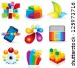 Collection of Multicolored Symbols, Logos and Icons. Abstract Vector Design Elements. - stock vector