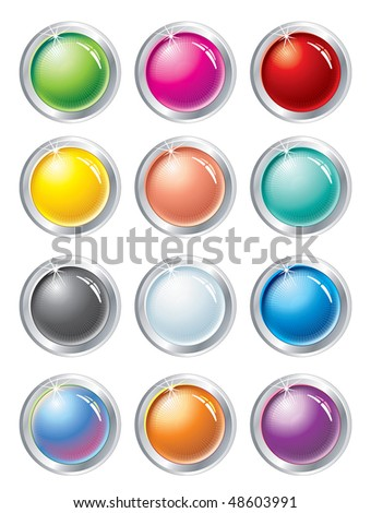 Collection of multicolored vector buttons