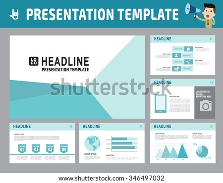 collection of multipurpose presentation template. icons Infographic element. company advert marketing concept. abstract blue polygon flyer layout brochure modern style. flat leaflet illustration. - stock vector