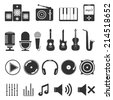 Collection of music icons, vector eps10 illustration - stock vector