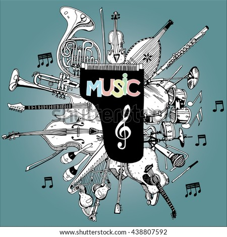 Collection of Music Instruments. Hand drawn illustration in doodle style. - stock vector