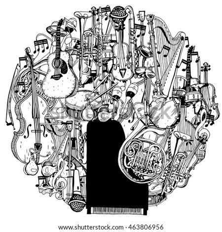 Collection of Music Instruments in circle. Hand drawn illustration in doodle style.