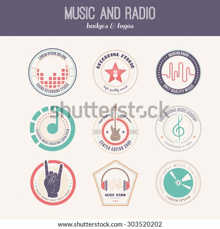 Collection of music logos made in vector. Recording studio labels hipster style. Podcast and radio badges with sample text. Sound production logotypes. - stock vector