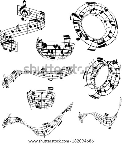Collection of music notes in various abstract designs - stock vector