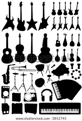 collection of music objects vector - stock vector