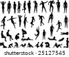 Collection of naked human body vector silhouettes - stock vector