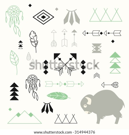 Collection of native American symbols with cute baby buffalo and dream catcher, vector illustration - stock vector
