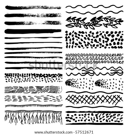 Collection of natural impressionism brush patterns - stock vector