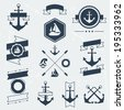 Collection of nautical symbols, icons, badges and elements. - stock vector