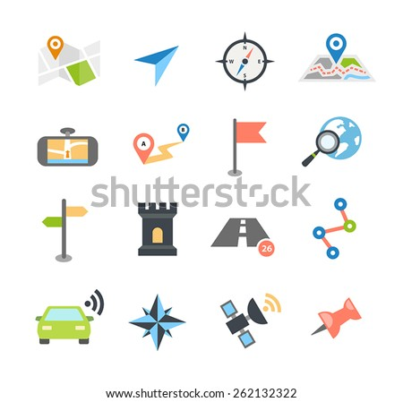 Collection of navigation icons - arrows, pointers and navigational equipment. Can be used for maps, plans, mobile apps. Usable for web or print. - stock vector