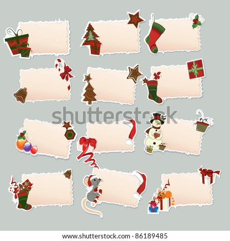 Collection of New Year's label - stock vector