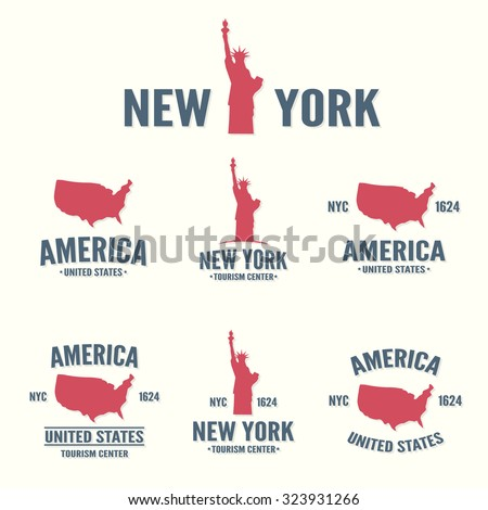Collection of New York, America, USA icon or logo.  Set of vector stamps, seals, banners, labels, badges.   - stock vector