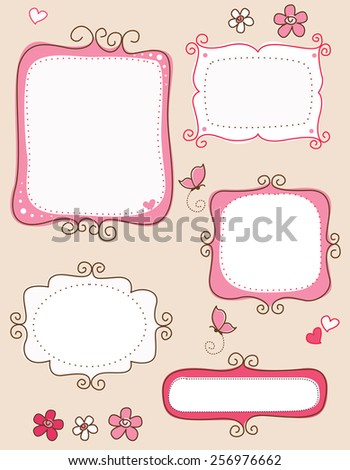 Collection of nice cute doodle frames on white background. specially for spring scrap booking - stock vector