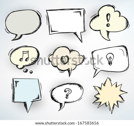 Collection of nine different doodled speech bubbles - stock vector