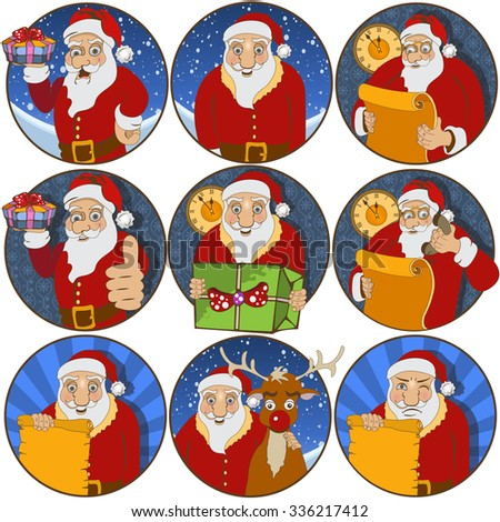 Collection of nine different rounded Santa Claus   - stock vector