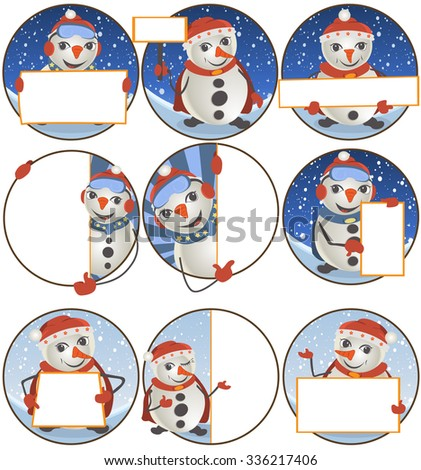 Collection of nine different rounded snowman with banner illustrations. - stock vector