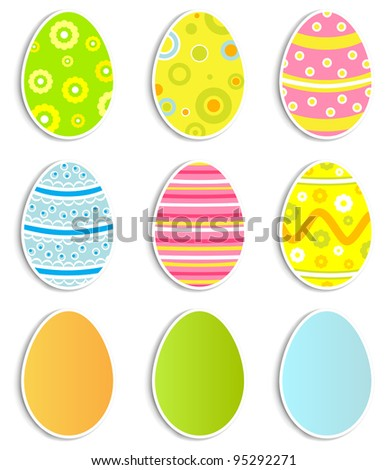 Collection of nine Easter eggs, illustration - stock vector