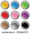 Collection of nine glossy buttons in different colors - stock vector