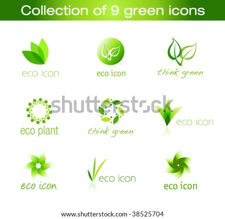 Collection of nine green eco-icons - stock vector