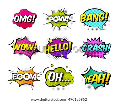 Collection Of Nine Multicolored Comic Sound Effects In Pop Art Vector Style Bubble Speech With