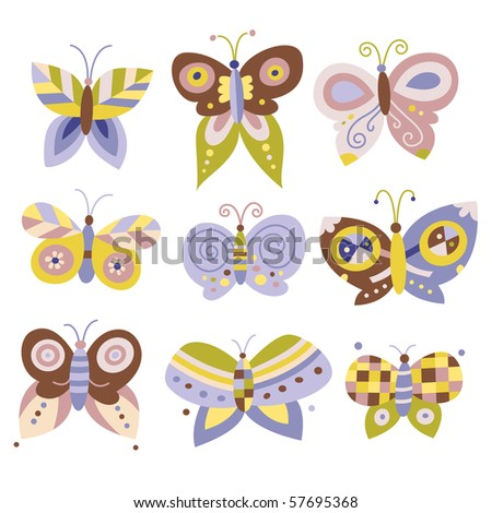 Collection of nine pretty butterflies. - stock vector