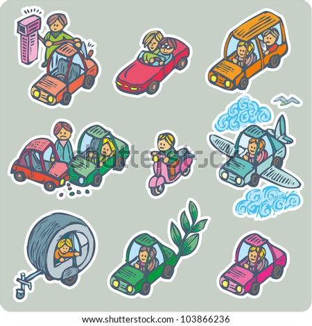 Collection of nine situations about cars and related. - stock vector