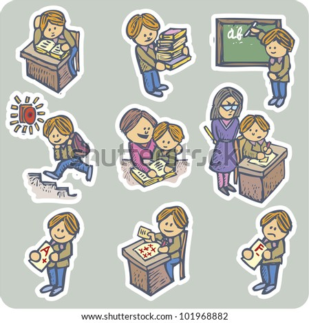 Collection of nine situations about pupil life - stock vector