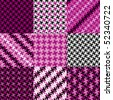 Collection of nine trendy puzzle patterns in magenta, pink and black. - stock vector
