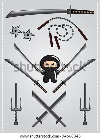 Collection of ninja weapon with cute ninja character holding katana, vector - stock vector