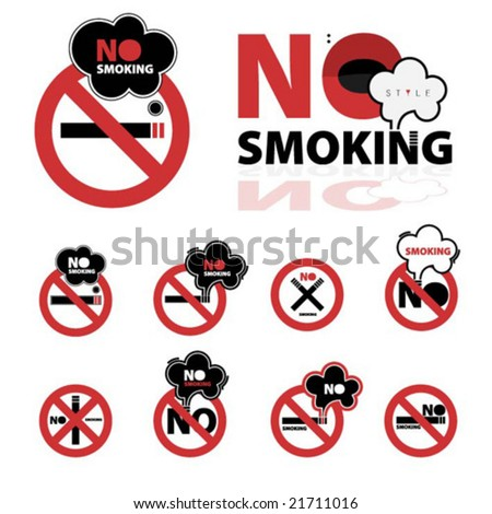 Collection of no smoking signs - stock vector