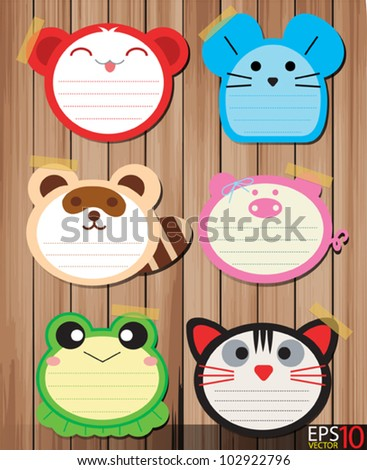 collection of Note paper design on wood background. vector illustration - stock vector