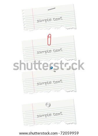 collection of note paper isolated on white background - stock vector