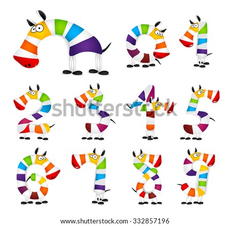 Collection of Numbers. Made Of colorful animal cartoon rainbow zebra. Vector - stock vector