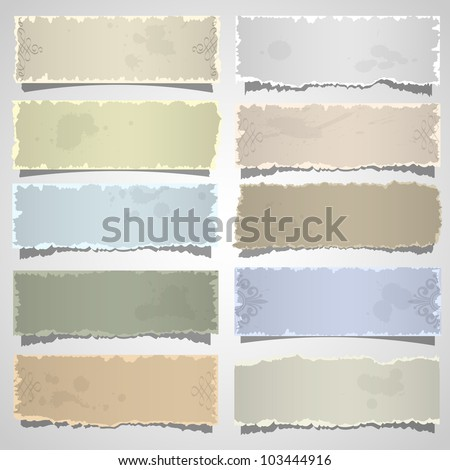 Collection of old note paper in pastel colors. Vector eps10 - stock vector