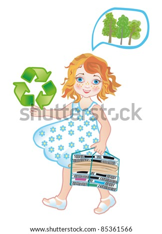 Collection of old paper on processing for the rescue of ecology - stock vector